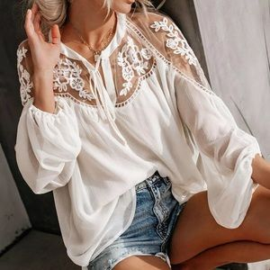 - ✳️1 HOUR SALE✳️ Lace mesh  White Top